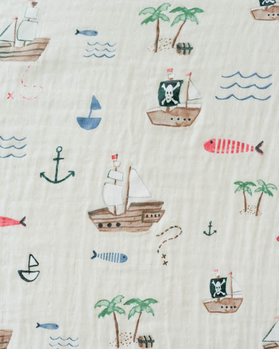 Cotton Muslin Swaddle Blanket - Treasure Map