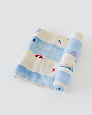 Cotton Muslin Swaddle Blanket - Tan Lines