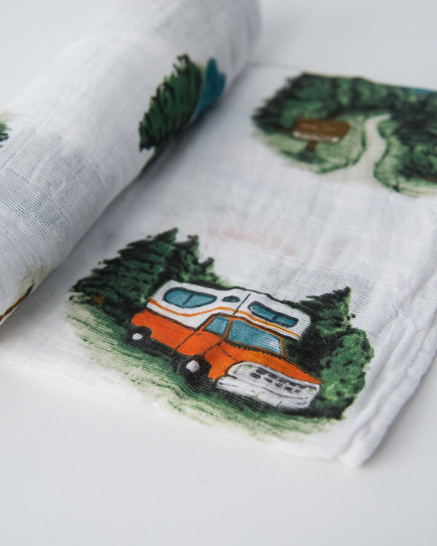 Cotton Muslin Swaddle Blanket - Happy Camper