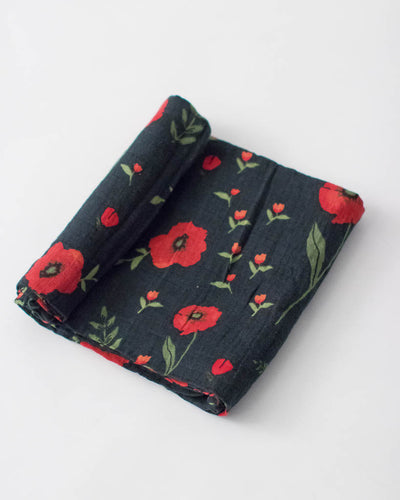 Cotton Swaddle - Dark Summer Poppy
