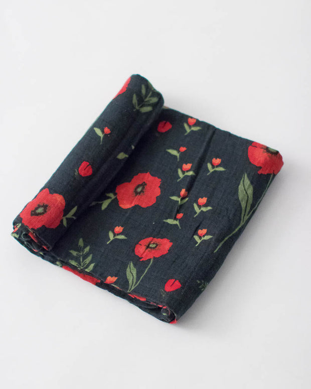 Cotton Muslin Swaddle Blanket - Dark Summer Poppy