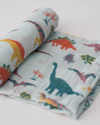 LU + Jurassic World Cotton Muslin Swaddle Blanket - Embroidosaurus