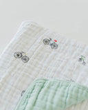 Cotton Muslin Quilt - Bike Family