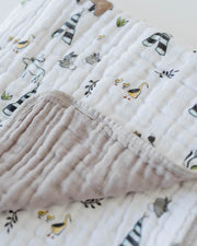 Cotton Muslin Baby Quilt - Forest Friends