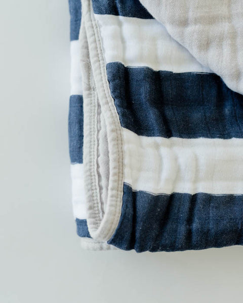 Cotton Muslin Quilt - Navy Stripe