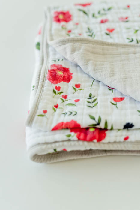 Cotton Muslin Baby Quilt - Summer Poppy