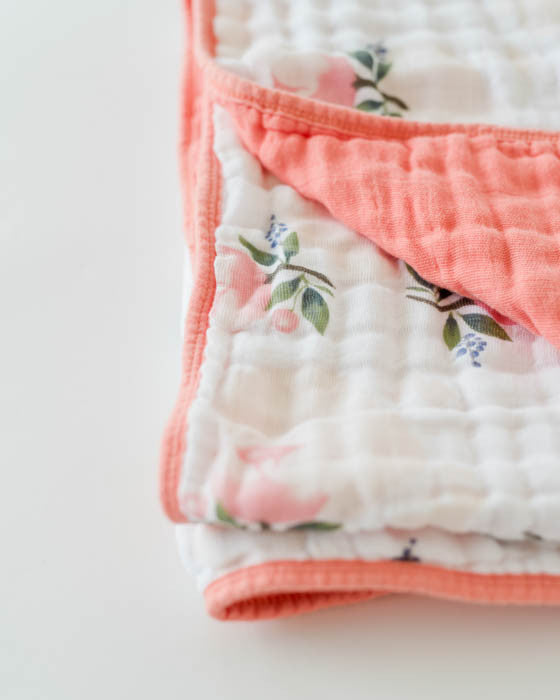 Cotton Muslin Quilt - Watercolor Rose