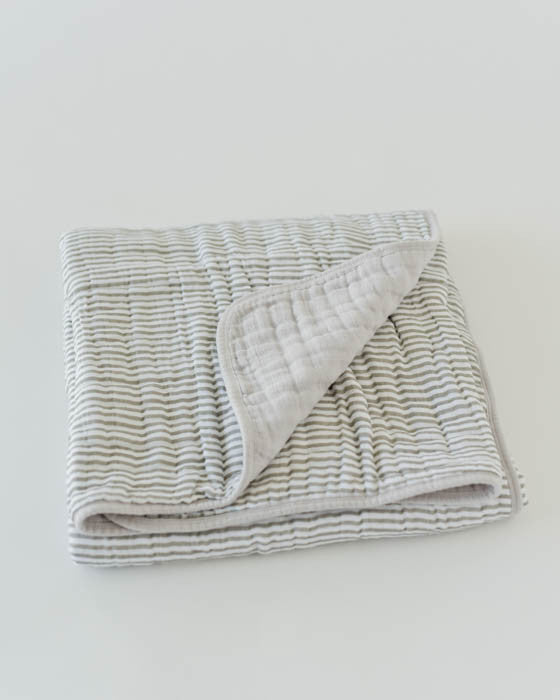 Cotton Muslin Quilt - Grey Stripe