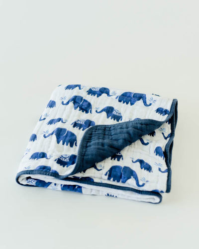 Cotton Muslin Baby Quilt - Indie Elephant
