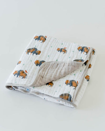 Cotton Muslin Baby Quilt - Bison