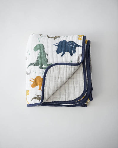 Cotton Muslin Baby Quilt - Dino Friends