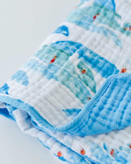 Cotton Muslin Baby Quilt - Surf