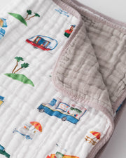 Cotton Muslin Baby Quilt - Food Truck