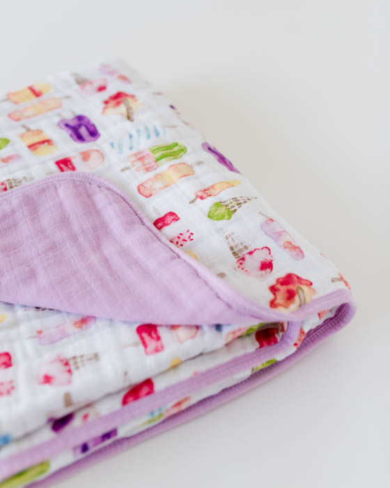 Cotton Muslin Baby Quilt - Brain Freeze