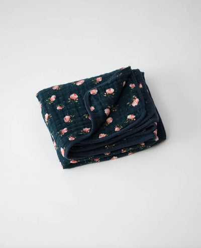 Cotton Muslin Baby Quilt - Midnight Rose
