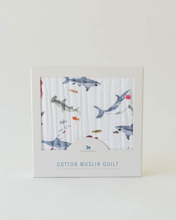 Cotton Muslin Quilt - Shark