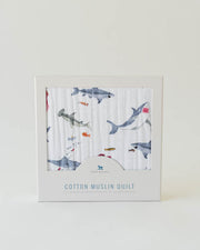 Cotton Muslin Baby Quilt - Shark