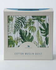 Cotton Muslin Baby Quilt - Tropical Leaf