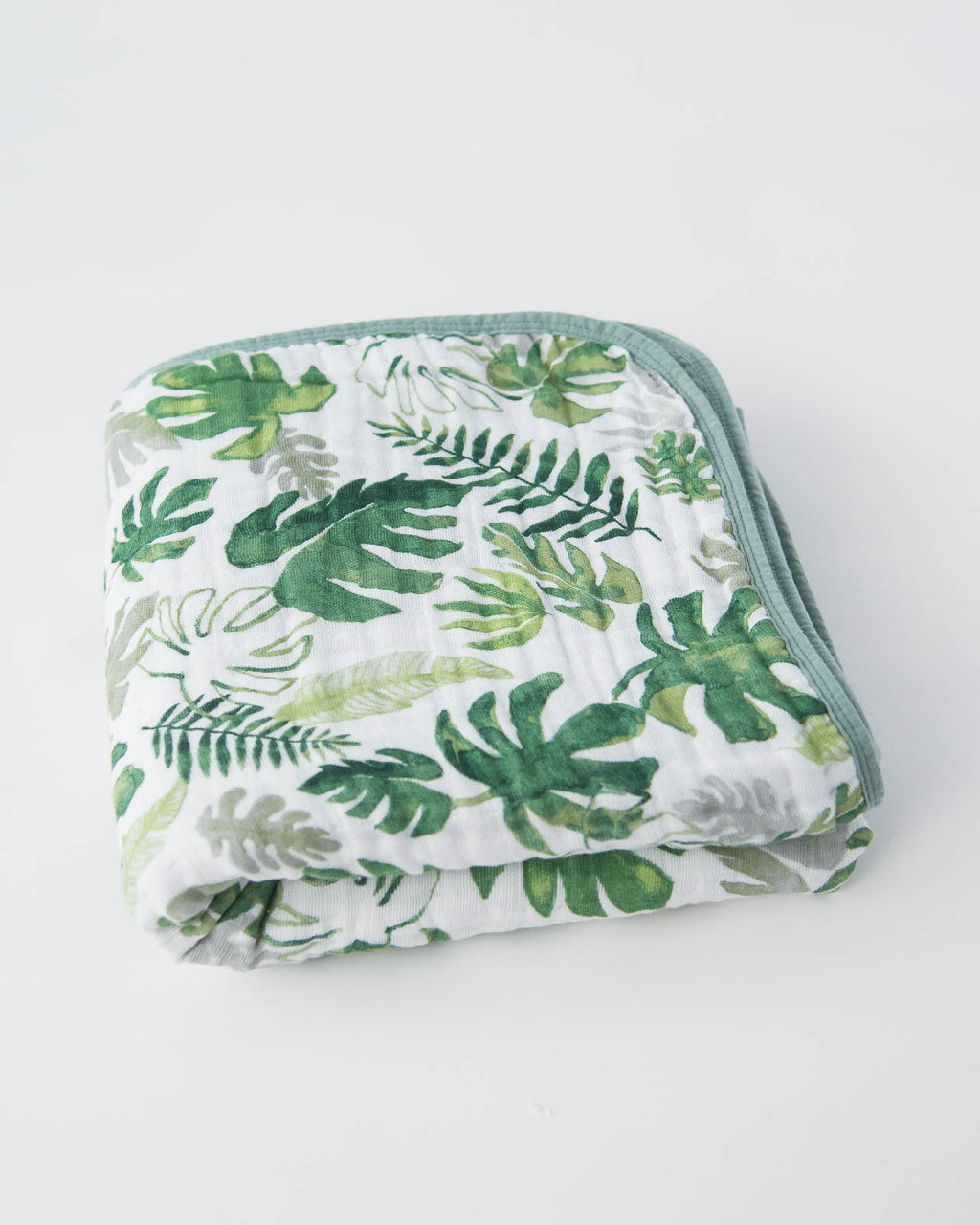 Cotton Muslin Quilt Tropical Leaf