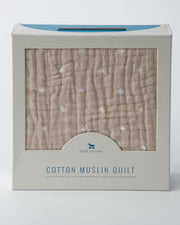 Cotton Muslin Quilt - Taupe Cross