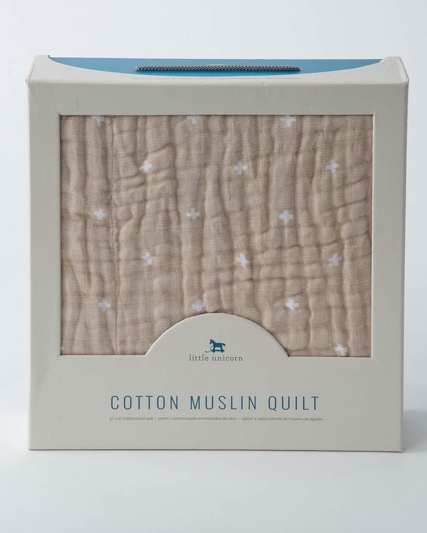 Cotton Muslin Baby Quilt - Taupe Cross