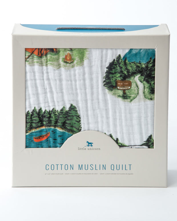 Cotton Muslin Baby Quilt - Happy Camper