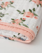 Cotton Muslin Baby Quilt - Watercolor Roses