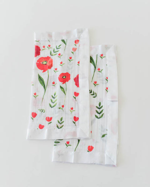 Cotton Muslin Security Blankets - Summer Poppy