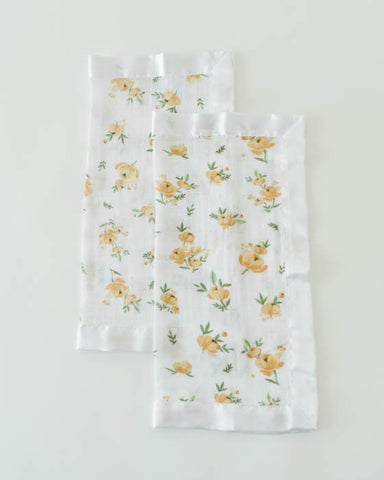 Cotton Muslin Security Blankets - Yellow Rose