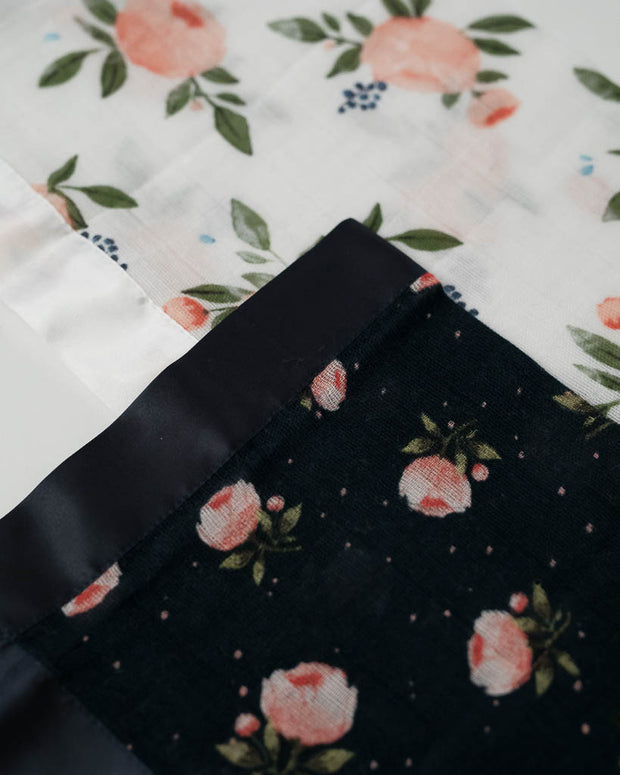 Cotton Muslin Security Blankets - Watercolor Roses + Midnight Rose