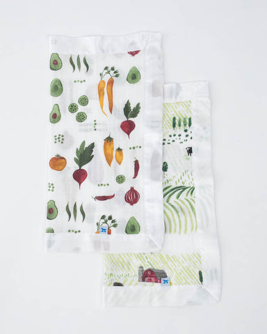 Cotton Muslin Security Blanket 2 Pack - Rolling Hills + Farmers Market