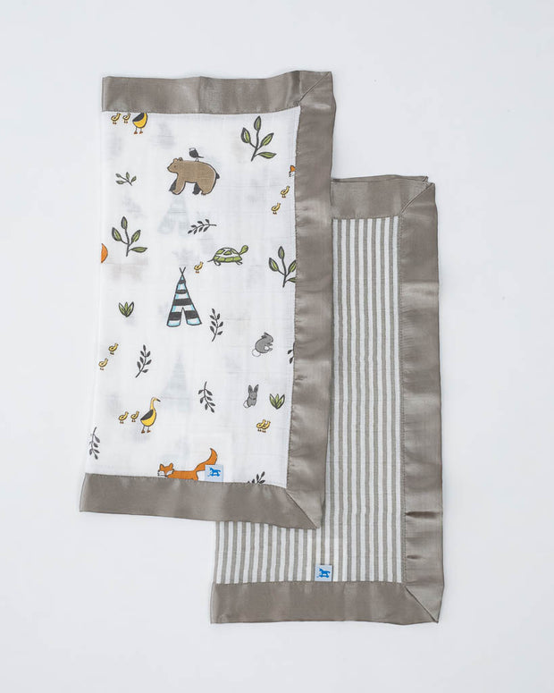 Cotton Muslin Security Blankets - Forest Friends + Grey Stripe