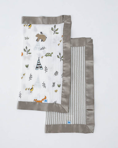 Cotton Muslin Security Blanket 2 Pack - Forest Friends + Grey Stripe