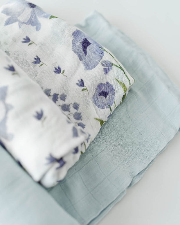 Deluxe Muslin Swaddle Blanket Set - Blue Windflower