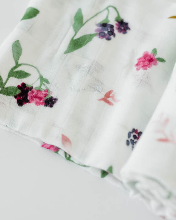 Deluxe Muslin Swaddle Single - Berry Patch