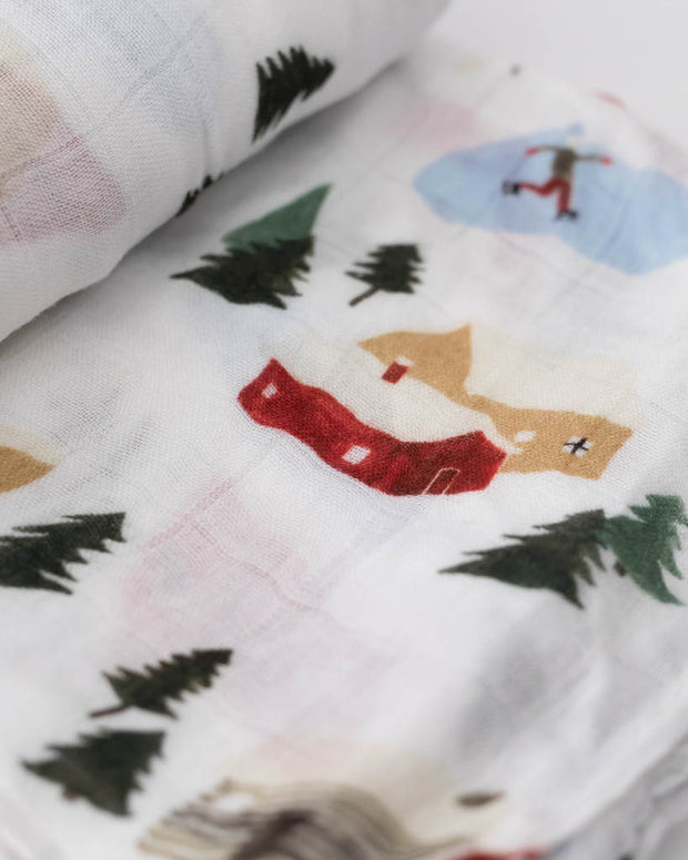 Deluxe Muslin Swaddle Blanket - Winter Village