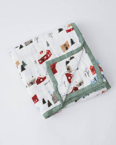 Deluxe Muslin Baby Quilt - Winter Village
