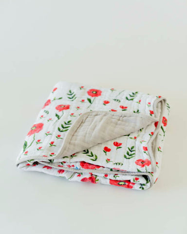 Organic Cotton Muslin Quilt - Summer Poppy