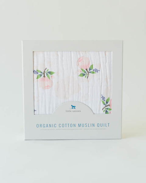 Organic Cotton Muslin Quilt - Watercolor Rose