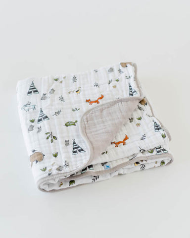 Organic Cotton Muslin Quilt - Forest Friends