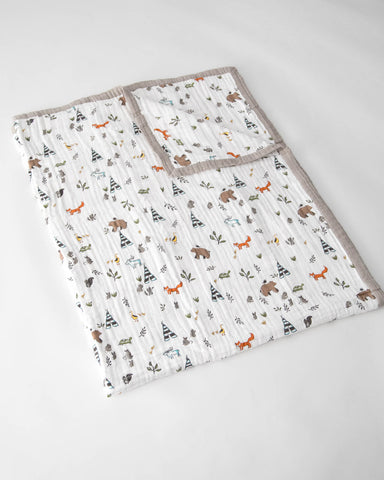 Big Kid Cotton Muslin Quilt - Forest Friends