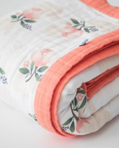 Big Kid Cotton Muslin Quilt - Watercolor Rose