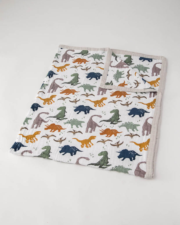 Big Kid Cotton Muslin Quilt - Dino Friends
