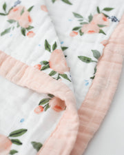 Big Kid Cotton Muslin Quilt - Watercolor Roses