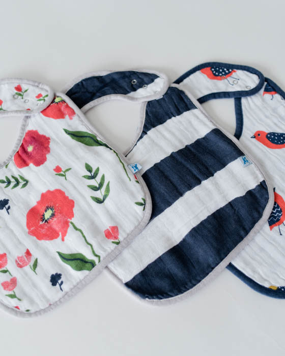 Cotton Muslin Classic Bib 3 Pack - Summer Poppy