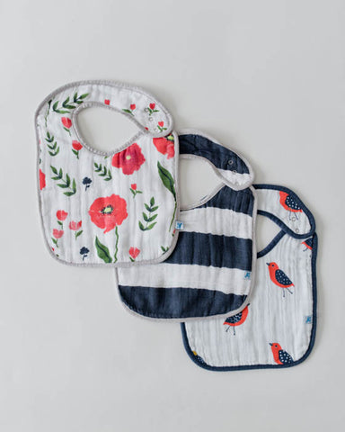 Cotton Muslin Classic Bib - Summer Poppy