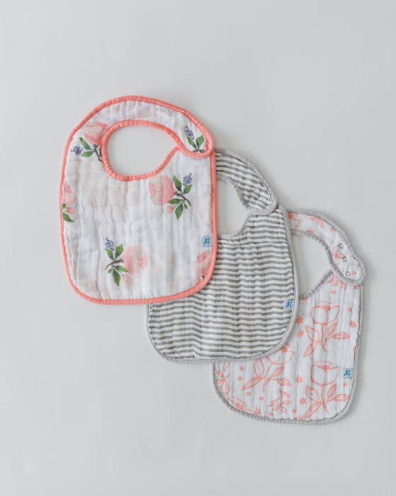 Cotton Muslin Classic Bib - Watercolor Rose