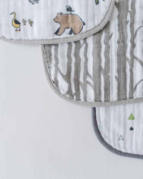 Cotton Muslin Classic Bib 3 pack- Forest Friends