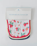 Cotton Muslin Classic Bib 3 pack - Berry Lemonade