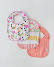 Cotton Muslin Classic Bib 3 pack- Cabana Stripe